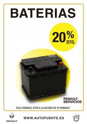 Ven a <b>Renault Autopuente</b> para cambiar la <b>batería </b>de tu vehículo y <b>ahórrate el 20%</b>. Recuerda que, como siempre, trabjamos con las mejores marcas. Por que la calidad de la batería también es importante.