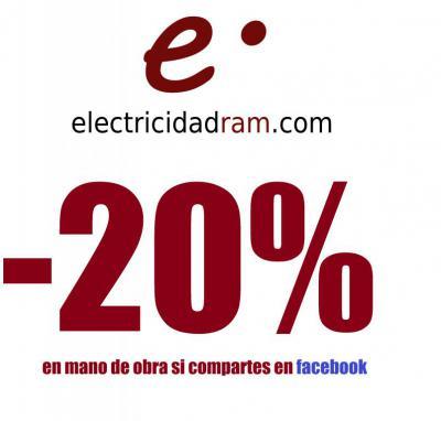 Sólo por seguirnos enhttps://www.facebook.com/electricidadram , Obtendrás un 20% de descuento en mano de obra.<div>SÓLO PARA ALBACETE CAPITAL</div>