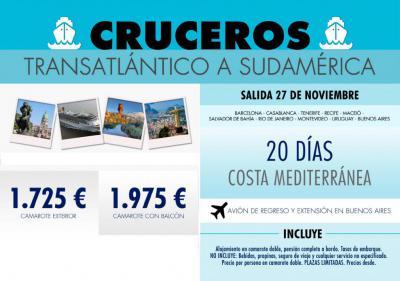 Crucero Transatlántico a Sudamérica, 20 días y 19 noches, de Barcelona a Buenos Aires.<div><br /></div><div>Lugares visitados: •Barcelona – Casablanca (Marruecos) •Sta. Cruz de Tenerife – Recife (Brasil) – Maceió (Brasil) •Salvador de