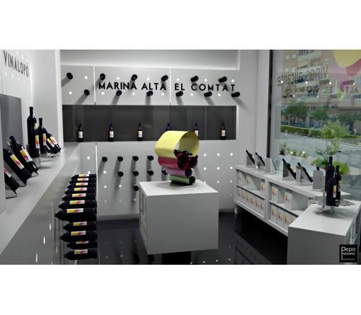 Diseño interior de espacio comercial destinado a vinacoteca